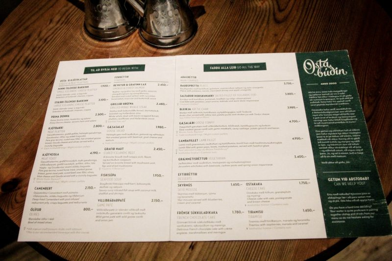 Osta Budin Restaurant in Reykjavik, Iceland