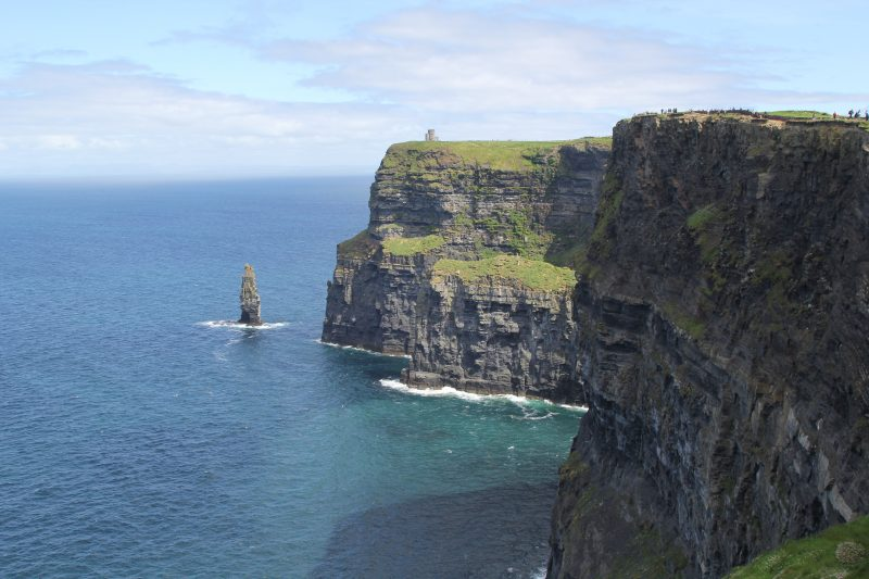 cliffs of moher with O'Brien's Tower in the distance