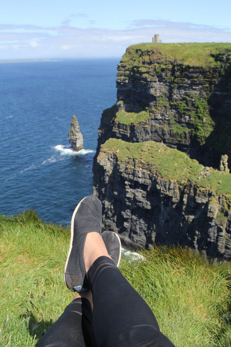 Sat on the Cliffs of Moher facing O'Brien's Tower