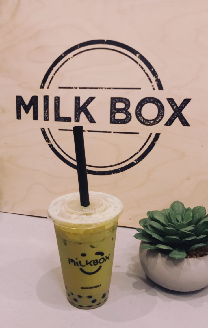Iced Green Tea latte with boba